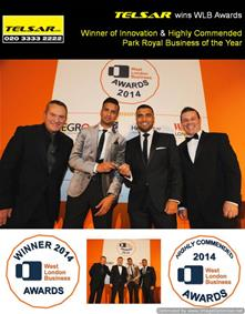 Telsar wins WLB Awards - Winner of Innovation & Highly Commended Park Royal Business of the Year!